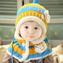 Дети унисекс трикотажные Шапки шарф набор Симпатичные зима теплая шапочка с капюшоном шарф новый No name 32771130612