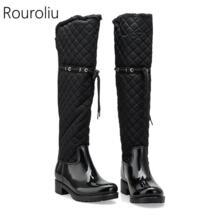 /женские резиновые непромокаемые сапоги в стиле пэчворк на квадратном каблуке, зимние теплые резиновые сапоги на меху, женская обувь TR219 Rouroliu 32776283429