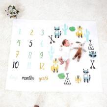 Детская веха одеяла Новорожденные мягкие теплые лисы печати малышей кровать пеленать обертывание ежемесячный рост номер фото фон банное полотенце JOCESTYLE 32830503025