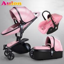 Aulon детская коляска 3 в 1 бесплатная доставка! Фирменная детская коляска,экокожа детская коляска, евро автомобильное кресло, корзина, колыбель для новорожденных, для автомобиля babyyoya 32823824674