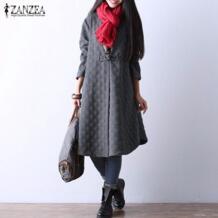 Для женщин Винтаж элегантный длинный плащ пальто для будущих мам осень 2018 г. женский с длинным рукавом одной кнопки верхняя одежда повседнев ZANZEA 32756805010