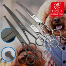 Профессиональный 7,0 дюймов Pet Ножницы Набор для резки + Изогнутые Ножницы с безопасности круглый Tip Top для собак Уход Ухо Нос лица paw No name 32773518470