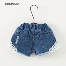 /короткие джинсы с дырками для маленьких девочек Новинка, Детские однотонные шорты для девочек, шорты с эластичной резинкой на талии детские узкие универсальные джинсы lememogo 32973953116