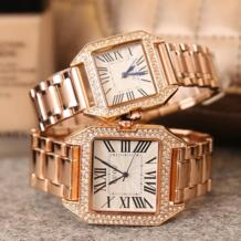 HK известный бренд модные квадратные роскошные золотые стальные часы для влюбленных с бриллиантами мужские и женские Наручные Подарочные Кварцевые часы GUOU 32693340117