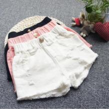 Модная летняя одежда для маленьких девочек 1-16 лет, хлопковые Рваные джинсовые шорты, 3 цвета, джинсы, детские шорты, штаны для девочек ST328 BONNYWIER 32860776091