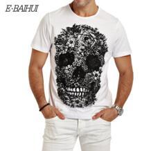E-BAIHUI Для мужчин s футболки для всей семьи, модные футболки для череп мужская 3D футболка в стиле «хип-хоп» Для мужчин футболка Повседневное футболки для фитнеса скейт Swag marcelo burlon Y049 E·BAIHUI 1990408923