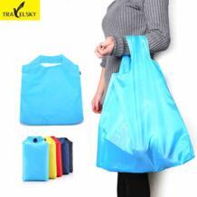 Дорожная портативная складная сумка для покупок, большая нейлоновая сумка 5 цветов водонепроницаемая Толстая Сумочка Ripstop TRAVELSKY 32645035623