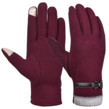 Vbiger женские зимние теплые перчатки толстые теплые варежки холодная погода перчатки Сенсорный экран перчатки с милым бантом No name 32840502112