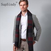 Мужской шарф 2018 осень зима винтажный Мягкий клетчатый шарф мужской имитация кашемировый шарф высокого качества брендовые деловые шарфы на каждый день SupSindy 32803827685