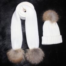 Женский вязаный 180 см длинный шарф и шапка набор роскошный зимний теплый вязанный шапки и шарфы с настоящим мехом шапка с помпоном для женщин Gasoo Max 32758024079