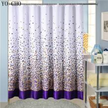 Полиэстер ткань для ванной занавеска для душа с крючками высокого качества фиолетовые цветные квадраты водостойкие шторы для ванной комнаты YO CHO 32666143545