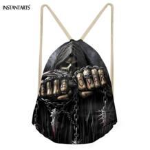 Панк 3D Azrael череп печати мужские мешки с кулиской винтажные мальчики девочки Баскетбол/Soccerly хранения рюкзаки пляжные сумки instantarts 32851873067
