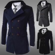 Модная мужская куртка-Тренч, теплый зимний Тренч с отложным воротником, длинная верхняя одежда, пальто на пуговицах, повседневное Мужское пальто MUQGEW 32847582380