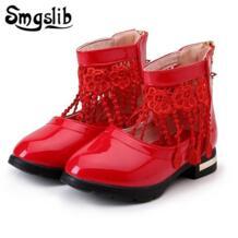 /детская обувь для девочек, свадебные вечерние модельные туфли для девочек, кожаные туфли с цветочным кружевом и кисточками для девочек, розовые/черные/белые/красные школьные туфли Smgslib 32838260394