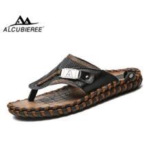 /мужские шлёпанцы из натуральной кожи сланцы летняя пляжная обувь дышащие сандалии освежающие шлёпанцы большой размер 47 48 ALCUBIEREE 32879954879