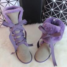 G & Zaco/Роскошные зимние сапоги до колена из овечьей кожи, зимние сапоги из натуральной шерсти, сапоги на овечьем меху, женские высокие сапоги с ремешком и милым бантом, обувь на плоской подошве G&ZaCo Luxury 32743073989