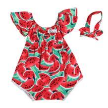 2 предмета, летняя хлопковая одежда с арбузами для новорожденных девочек, Красный боди без рукавов с круглым вырезом, костюм для детей от 0 до 24 месяцев pudcoco 32810981939