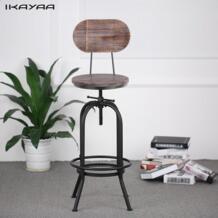 IKAYAA промышленных Стиль барный стул регулируемая высота вращающееся кресло Пайнвуд топ со спинкой дома Мебель для баров нами FR DE со No name 32848422901