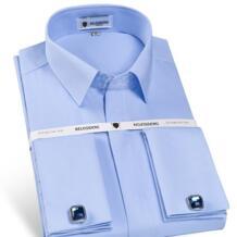 Мужская нежелезная приталенная французская запонка, рубашка, длинный рукав, закрытая планка, однотонная саржа, элегантные смокинговые рубашки (запонки в комплекте) mengquan 32820125614