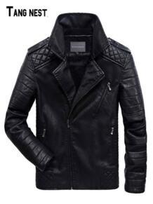 6XL искусственная кожа куртки 2019 новый бренд мото крутые мужские куртки пальто плюс размер искусственная кожа ветрозащитное пальто на молнии MWP492 TANGNEST 32837278196