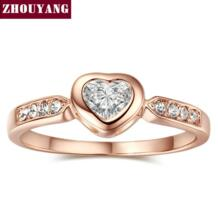 Высокое качество ZYR085 с кристаллом в форме сердца кольцо из розового золота цвет Австрийские кристаллы CZ оптовая продажа ZHOUYANG 805390315
