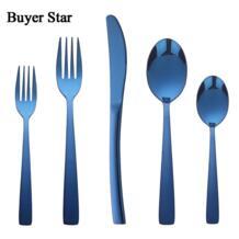 5 шт. темно-синий набор столовых приборов нож вилка ложка набор посуды серебро Cutleries Западный набор пищи Buyer Star 32841924544