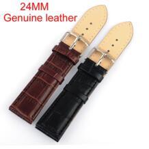 Розничная продажа-высокое качество 1 предмет 24 мм кожаный ремешок водонепроницаемый Бретели для нижнего белья спортивные часы группа коричневый и черный для варианта No name 1895156792