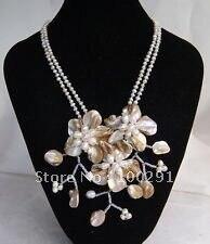 Бесплатная доставка! И Двухрядное ожерелье с тремя милыми ракушками и цветами clam tears 630400117