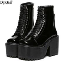 Botas femininas/2017 осенние мотоциклетные ботинки, брендовые дизайнерские женские ботинки, обувь на платформе, Ботинки martin в стиле панк-рок, черная/Белая обувь DiJiGirls 32551539883