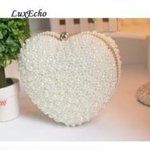 Большой любви белый/цвета слоновой кости с жемчугом сердце день сумка-клатч вечерняя вечерние сумка женский клатч для девочек Свадебные сумка сумочки для невесты luxecho 32762049753