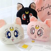 1 шт. аниме Сейлор Мун Kawaii Мультфильм 20th Юбилей Luna Cat плюша подушку обеденный перерыв офисные кондиционером одеяло LELAKAYA 32861743802