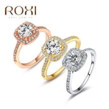 2018 брендовые модные ювелирные украшения anillos кольца для женщин белый розовый золотой цвет Цирконий окружающей среды горный хрусталь обручальные кольца ROXI 1122039426