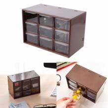 Новый 9 ящиков пластиковый шкаф для хранения настольная корзина для макияжа коробка ювелирные изделия Органайзер Домашний Ящик 2 цвета YAS 32848159185