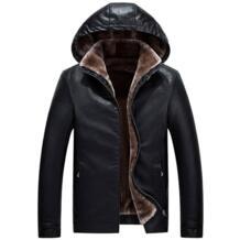 Новый список зима высокого класса мужская деловая повседневная кожаная куртка Искусственная кожа мужские пальто теплая куртка с капюшоном ветрозащитный TUOLUNIU 32832938601
