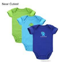Рядом симпатичный 3 шт./лот новорожденных Средства ухода за кожей Костюм Слона Стиль младенческой короткий рукав Creeper Одежда для маленьких мальчиков и девочек Bebe облегающий костюм No name 32462918658