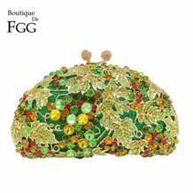 зеленый ромбовидный Для женщин винограда вечернее кошелек Клатчи вечерние свадебные Сумки Люкс Кристалл Клатч minaudiere сумка Boutique De FGG 32285983069