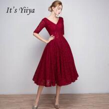 Это yiiya красный продаж v-образным вырезом Половина рукава лодыжки-Длина Узелок Пром платье Простой кружева Роскошные платья для выпускного вечера Танцы вечерние L018 it's yiiya 32827557171