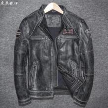 Ретро Винтаж Черный для мужчин пояса из натуральной кожи мотоциклетная куртка однобортный размеры 4XL натуральная кожа толстые куртка из бычьей кожи DAYDAYFASHION 32881238190