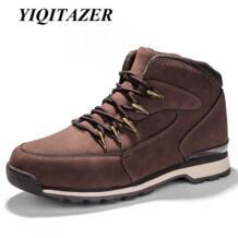 Yiqitazer Новинка 2017 года Осенне-зимние повседневная обувь Мужская обувь кожи. резиновая подошва с высоким берцем Кружево человек лодка обуви коричневый, черный No name 32829372229