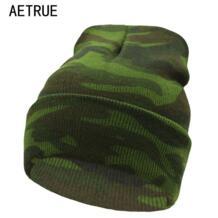 Вязаные Шапочки зимние, шапки для Для Мужчин Капот шапки брендовая зимняя шапка Для женщин вязаная шляпа теплая новый осень Touca камуфляж Skullies шапочка 2018 AETRUE 32700377870