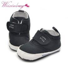Новорожденных Для маленьких мальчиков хлопковые ботильоны холст высокого Обувь для младенцев Повседневное тапки малышей Обувь для малышей WEIXINBUY 32562382467