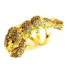 Золотой цвет сплав Омар двойной двойное кольцо на палец кольца стимпанк кольца ювелирные изделия для женщин, RN-599 No name 510483744
