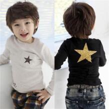 с длинным рукавом звезда Футболки для маленьких мальчиков рубашки на подкладке серый черный Детские футболки Рубашки для мальчиков пот Рубашки для мальчиков детская одежда модные топы Hooyi 32693876235