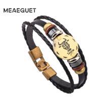 мужские браслеты 12 Созвездие ретро коричневый PU кожаный ручной цепи из бисера Шарм ювелирные изделия Созвездие Шинель аксессуары Meaeguet 32833116755