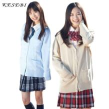 Свитер для женщин Японский Школьная форма Кардиган зимние студенты девушка однобортный основной женский кардиганы с v-образным вырезом свитеры для KESEBI 32719110731