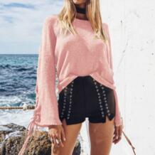 Для женщин свитер длинный рукав Сталь кольцо Леди Топы Повседневное элегантный дизайн пуловеры осень однотонная серая Винтаж No name 32833824846
