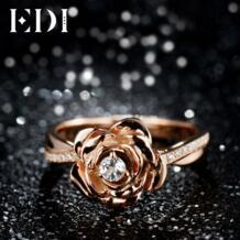 Подлинная цветочный 0.1CT Натуральный топаз синтетический бриллиант кольцо 925 пробы-серебро-ювелирные изделия цветок красота и чудовище Роза EDI 32636689898