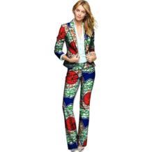 Мода Африканский принт женские пиджаки и брюки элегантный комплект брюки + Блейзер Устанавливает Дашики повседневный комплект одежда Африка No name 32794041680