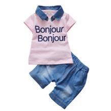 для маленьких мальчиков летняя официальная одежда комплект съемный с лацканами футболка с короткими рукавами + Шорты для женщин 2 шт. Костюмы комплект одежды для новорожденных BibiCola 32733401371