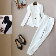 Newarrival свитеры для женщин Женский блейзер брюки костюмы модный однотонный костюм офисная Дамская длинная куртка и длинные штаны комплекты из 2 предметов белый Low Luv 32843506611